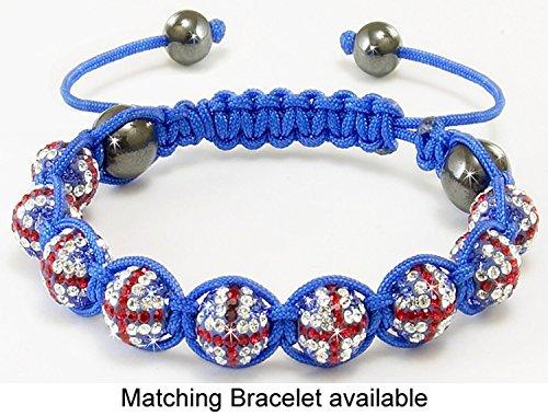 Shamballa – Unisex Makramee-Armband mit Union Jack-Design – Kristalle – Rot -