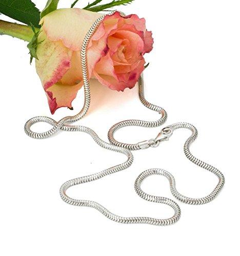 Silber Schlangenkette 2,4 mm breit Herren Damen Halsketten diamantiert rhodiniert 45,50,55,60 70,80,90,100,110,120cm Länge #1438 -