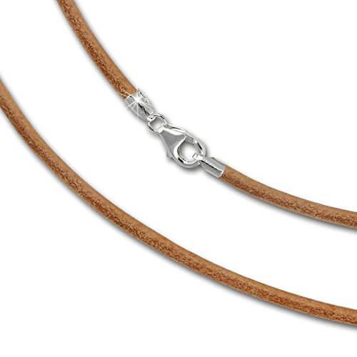 SilberDream Leder Kette 45cm natur 2mm für Charms mit 925er Sterling Silber Karabiner Verschluss SML7045 -