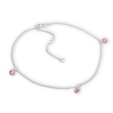 SL-Silver Fusskette Kette Kristallsteinen light pink 925 Silber -
