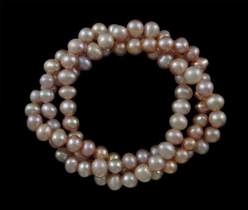 Süßwasserzuchtperlen Armband, rosa, 6-7mm -