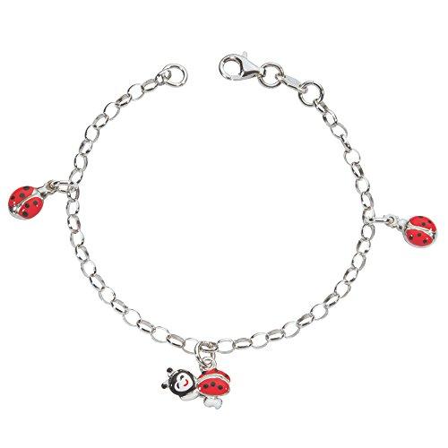 Suzette et Benjamin Kinder – 3180690 Kinder-Armband Silber 925/1000 3,7 g Emaille 16 cm, Marienkäfer -