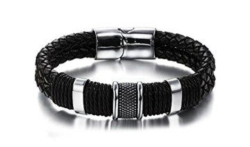 Swallowuk Herren Armband Retro Gewebte Lederarmband (18.5cm) -