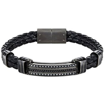 Swarovski Herren-Armband Express Braided Leder Kristall schwarz 20 cm – 5182035 -