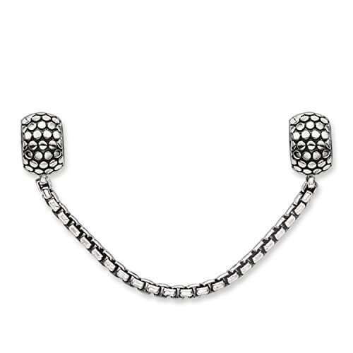 Thomas Sabo Unisex-Sicherheitskette Karma Beads 925 Sterling Silber geschwärzt Silikon KS0003-585-12 -