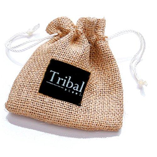 Tribal Steel, 21cm langes Herrenarmband aus schwarzem Leder, doppelt gewickelt mit Edelstahlkarabiner -