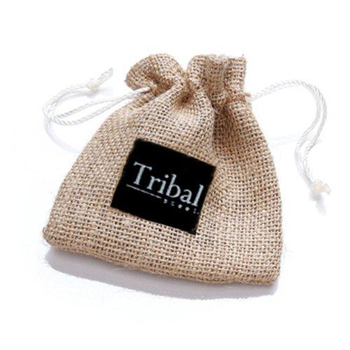 Tribal Steel, Herrenarmband aus schwarzem Leder mit ionenplattierter Edelstahlschließe, 23cm lang -