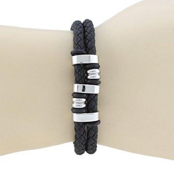 Unisex Leder Armband Manschette Wrap Braided Bund mit Edelstahl Metall Gürtelschnalle Anhänger Perlen -